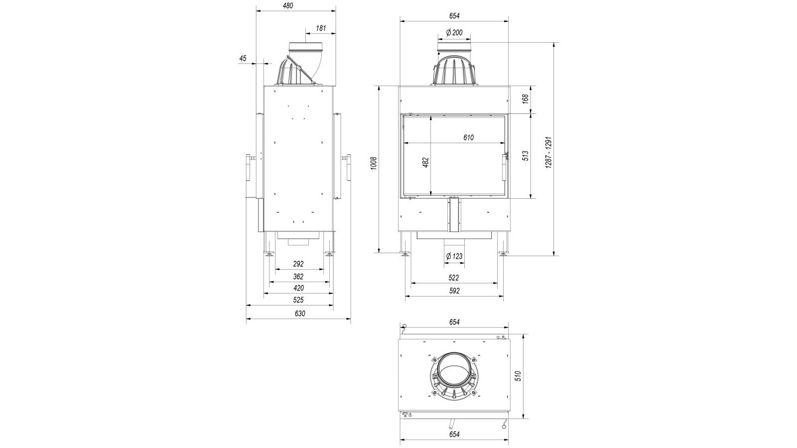 781e43da0c KRATKI Teplovzdušná krbová vložka Kratki LUCY 12 tunel - DOPRAVA ZDARMA