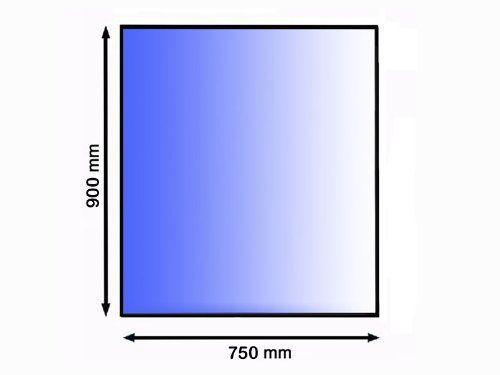 90x75 cm, tvrzené sklo 8 mm, broušená fazeta 20 mm
